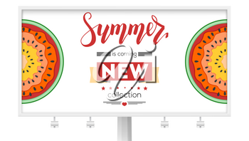New summer collection. Billboard with half past of watermelons. New arrival of goods. Summer offer for shopping. Watermelon cut out from paper, multilayer vector illustration