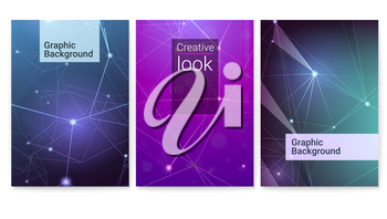 Set of vector posters. Technological and communication links, dIgital cyber pattern. Geometrical grid with points connected by lines. Symbols of the Internet, network, business communications.