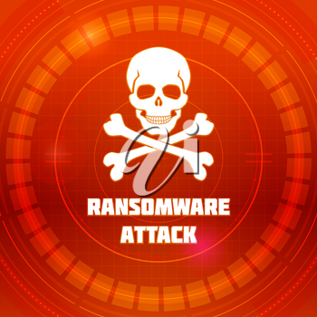 Ransomware virus, emblem of Malware attack. Skull and crossed bones on red background of HUD cyberspace. Pattern of warning of cybercrime, concept of interface cyber security. Vector 3D illustration.