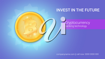 Advertisement of virtual currency Bitcoin. Icon of money, golden digital coin. Design of banner with technology crypto currency. Ready for print on cover, leaflets, using in presentations