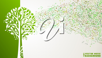 Music notes and treble clefs on tree. Music wave background. Green and white vector illustration.