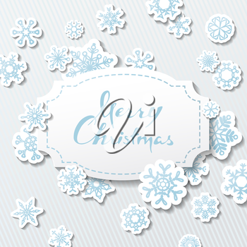 Paper badge with hand-drawn text and paper snowflakes on grey background. Vector illustration.