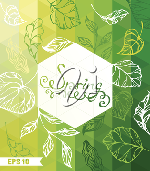 Green mosaic pattern with place for your text. Retro design. Spring leaves.