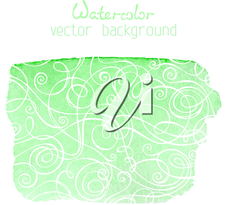 Green watercolour banner with white doodles isolated on white background. There is place for your text.