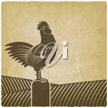 Rooster crowed in farm fields vintage background. vector illustration - eps 10