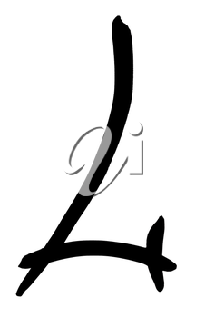 letter L hand written in black ink on white background
