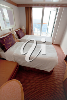 interior of hotel room on cruise liner - two bed room