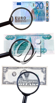 magnifying loupe zoom banknote isolated on white background