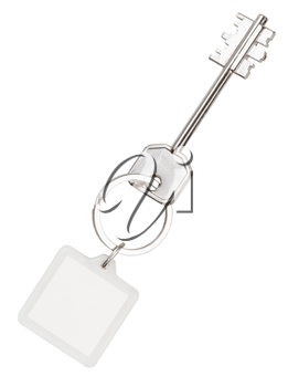 big double-sided key and square keychain on ring isolated on white background