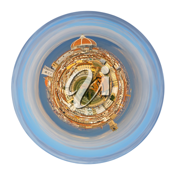 little planet - urban spherical panorama of view on Florence Italy from Michelangelo Park isolated on white background