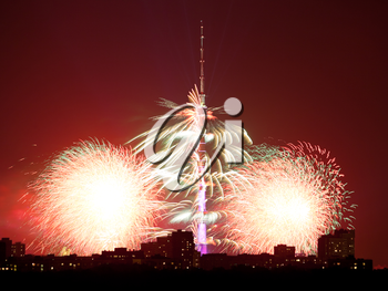 bright fireworks near Ostankino TV Tower in Moscow in night