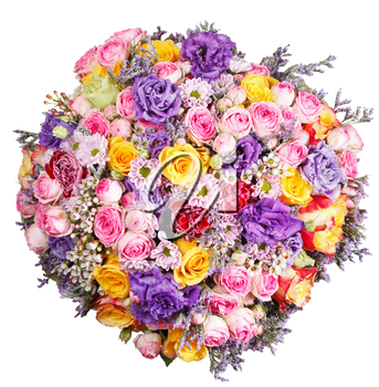 top view of bunch of flowers from roses and chrysanthemums isolated on white background