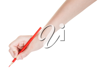 hand drafts by red pencil isolated on white background