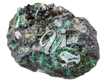 macro shooting of collection natural rock - druse with Malachite mineral stone isolated on white background