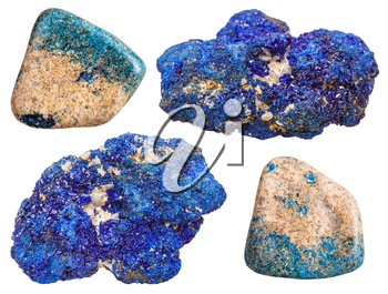 set of crystalline and polished azurite mineral stones isolated on white background