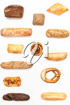 vertical set from various fresh pastries on white background