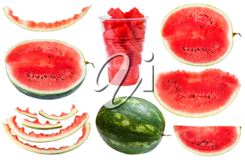 set from whole and sliced watermelons and rinds isolated on white background