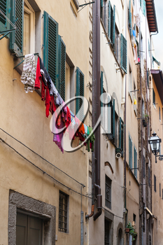 travel to Italy - old apartment house in historic center of Florence city