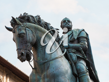 travel to Italy - Equestrian Monument of Cosimo I close up in Florence city