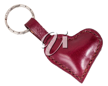 red leather heart shape keychain isolated on white background