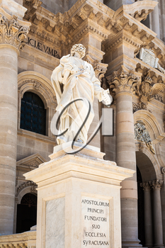travel to Italy - Saint Peter Apostle statue near Cathedral of Syracuse in Sicily