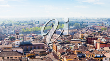 travel to Italy - above view of Verona city with waterfront of Adige River from tower Torre dei Lamberti in spring