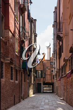 travel to Italy - street on Campo Dei Frari in Venice city in spring
