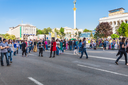 KIEV, UKRAINE - MAY 6, 2017: people on Khreshchatyk street near Maidan Nezalezhnosti during holidays Victory Day over Nazism in World War II and Day of Remembrance and Reconciliation in Kiev city