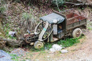 travel to China - old broken truck on side of country road in in area Dazhai Longsheng Rice Terraces ( Longji Rice Terraces)