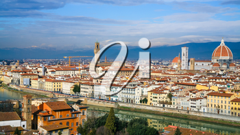travel to Italy - panoramic view of Florence city from Piazzale Michelangelo in sunny winter day
