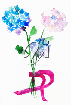 training drawing in suibokuga style with watercolor paints - bouquet from fresh hortensia flowers on paper