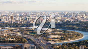 panoramic view of Luzhniki arena stadium and southeast of Moscow city from observation deck at the top of OKO tower in autumn twilight