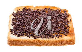 dutch sweet open sandwich with toast and hagelslag (topping from chocolate sprinkles) isolated on white background
