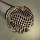 Metallic microphone taken closeup.Tonal correction.