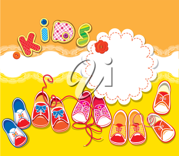 Card - children gumshoes, lace frame and word KIDS on orange and yellow background