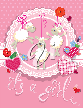 Pink baby shower card with sheep and hearts - design for girls. Birthday Invitation with handwritten text It`s a girl.