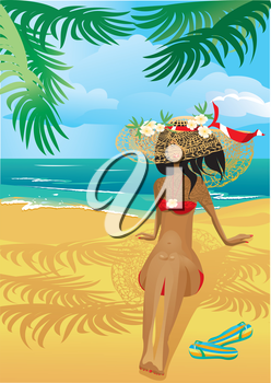 Girl on a tropical beach with straw hat