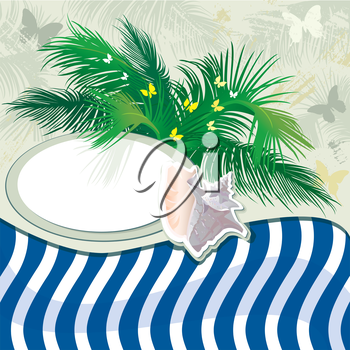 Grunge summer holiday background with palm tree and shell