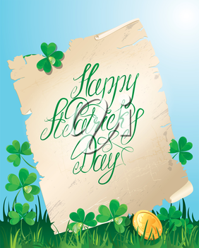 Holiday card with calligraphic words Happy St. Patrick`s Day. Old scroll, Shamrock and golden coin on blue sky background