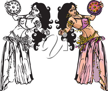 belly dance with tambourine (black and white and color pictures)