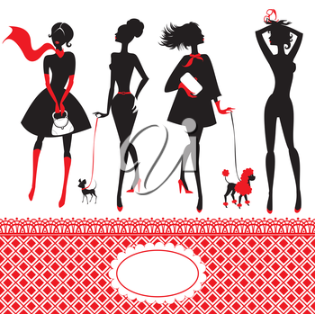 Set of silhouettes of fashionable girls on a white background