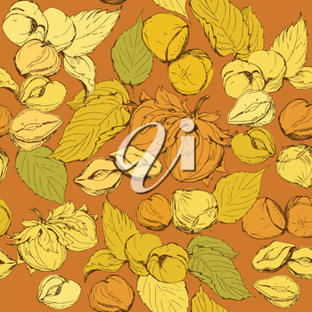 Seamless pattern with highly detailed hand drawn hazelnuts on brown background