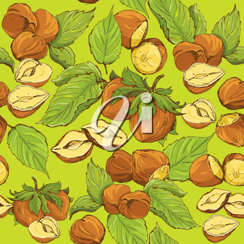 Seamless pattern with highly detailed hand drawn hazelnuts on green background