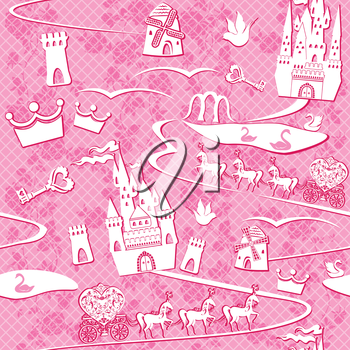 seamless pattern with fairytale land - castles, lakes, roads, mills,carriages and horses - Pink princess background
