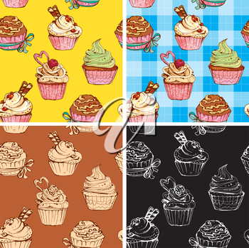 set of seamless patterns with decorated sweet cupcakes - background for cafe, menu, birthday design, etc.