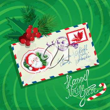Christmas and New Year card with envelope, christmas holly and fir tree branches on green background.