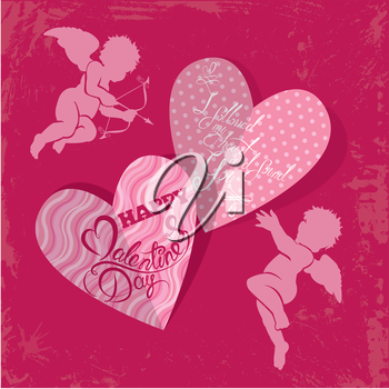 Holiday card with cute angels and hearts on grunge pink background. Handwritten calligraphic text Happy Valentines Day.