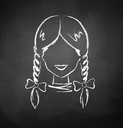 Chalkboard drawing of female avatar. Vector illustration.