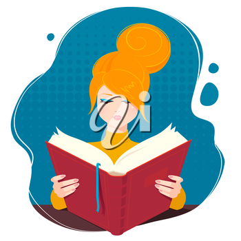 Girl reading a book. Vector illustration.