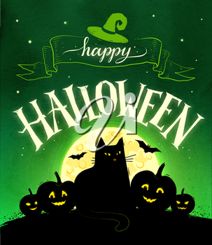 Happy Halloween vector postcard with moon, black cat and pumpkins on green background.